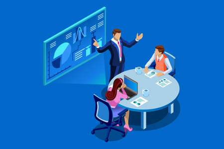 Isometric business analysis and planning. Concept of unity or teamwork concept. Consulting team work together. Project management and financial report strategy. Flat Isometric character illustration.