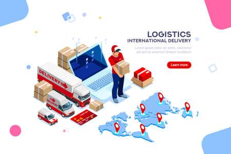 Distributie, wereldwijde fabrieksinfographic. Goede handel en logistiek, internationale levering. Levering netwerkverzekering. Voertuig, isometrische vrachtwagenillustratie, vectorlading die op witte achtergrond wordt geïsoleerd.
