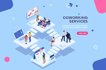Coworkers office concept with characters. Freelancer concept, coworking people, ceo business workspace for creative businesswoman. Standing employee space for businessmen. Flat Isometric illustration. 免版税图像 - 115034808