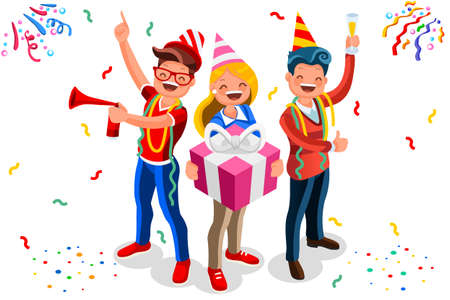 Happy birthday concept with characters. Indoor adult celebration with job colleagues group. Isometric male gift theme for man surprise. Flat Isometric characters illustration vector background Vectores