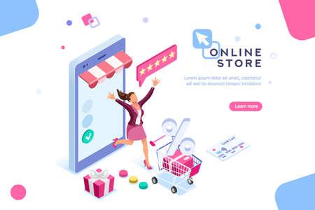 E-shop, concepto de compras con personajes. Pago de pago comercial, comercio minorista de comercio electrónico en el dispositivo para la aplicación del cliente. Descuento para compras inteligentes de mujeres. Ilustración de personajes planos isométricos.