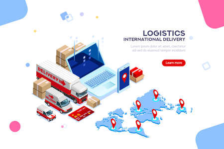 流通、グローバル工場インフォグラフィック。良い貿易と物流、国際配達。供給ネットワーク保険。クライアントのための税関サービスアプリ。フラットアイソメトリック車両イラスト。ベクトルトラック。