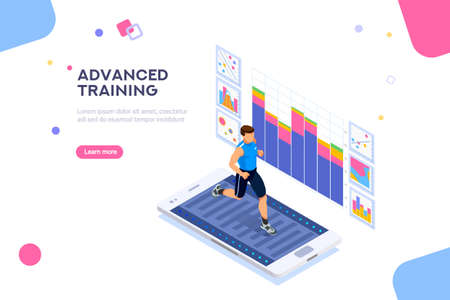 Treadmill exercising, fitness app for sports. Sportswear for man. Workout for wellness and activity of muscles. Male healthcare. Flat isometric vector illustration isolated on white background. Stock Illustratie