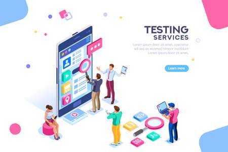 Proceso de prueba, equipo de codificación en infografías de software. UX para smartphone, trabajo en equipo en el dispositivo, programación de contenidos para seo. Caracteres planos isométricos y texto para el lugar de contenido del diseñador.