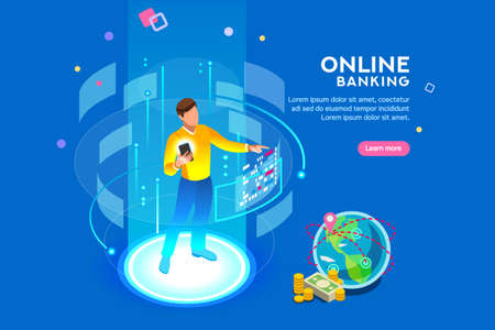 Vr, virtual augmented reality and futuristic banking concept with characters. Gadget of the future, smartphone tech for payment. Flat Isometric character vector illustration. Zdjęcie Seryjne - 105923597