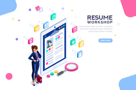 Web page, banner for resume resources. Employer, customer, boss recruit. Businesswoman isometric human resources, hr job presentation for occupation choose. Flat Isometric concept with characters.
