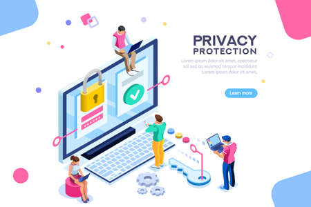 Infographic, banner with hero protect data and confidentiality. Safety and confidential data protection, concept with character saving code and check access. Flat isometric vector illustration. Stock Illustratie