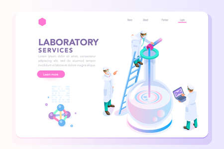 Health and biochemistry laboratory of nanotechnology. Molecule helix of dna, genome or gene evolution. Vector beauty science genome clone sequence concept with characters. Flat isometric illustration.