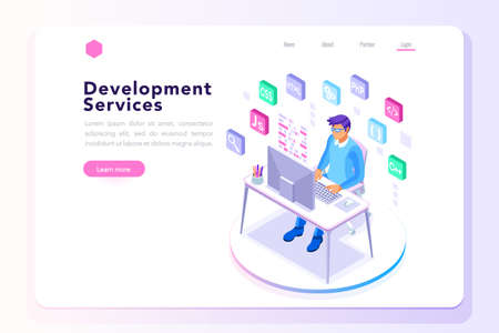 Device with character concept. Program developer creating website writing software at computer desktop. Engineer male programmer programming. Concept 3D flat isometric vector illustration landing page