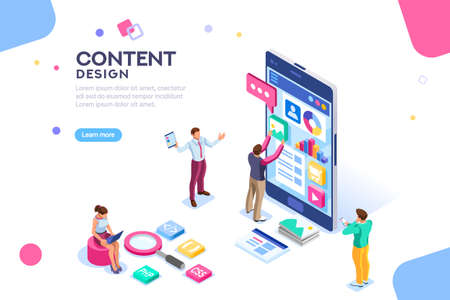 Software infographics, code place, idea for designer content. UI design concept with character and text. Programming seo phone vector illustration. Flat isometric concept with characters. Landing page Standard-Bild - 105923599