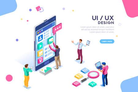 Koncepcja projektu interfejsu użytkownika z charakterem i tekstem dla projektanta. Infografika umieszczania zawartości urządzenia. Grupa oprogramowania, zestaw do programowania SEO telefonu. UX, ilustracja wektorowa płaski izometryczny kreatywny bohater cyfrowy.