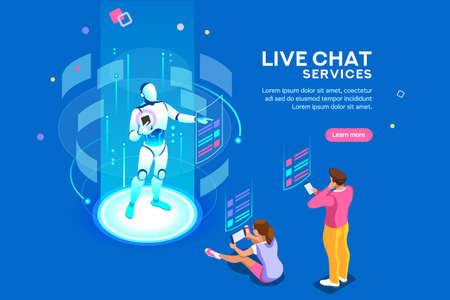 Artificial intelligence, ai for business. Iot concept, mans and women a chat bot dialog. Messenger application, virtual service of robot for social media. Flat Isometric concept with characters and 스톡 콘텐츠 - 112204114