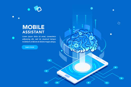 Flat isometric banner, ai of the future. Smartphone or geometric laptop mind, machine application with assistant connection. Pc for learning. Engineering technology, artificial intelligence concept. Illustration