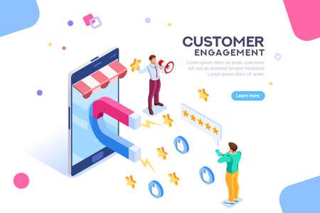 Processo di acquisto del cliente. Infografica di Seo su uno smartphone. Acquista sulla campagna del sito un messaggio di coinvolgimento per un like o una star. Revisione del contenuto della ricerca. Vettore piatto isometrico
