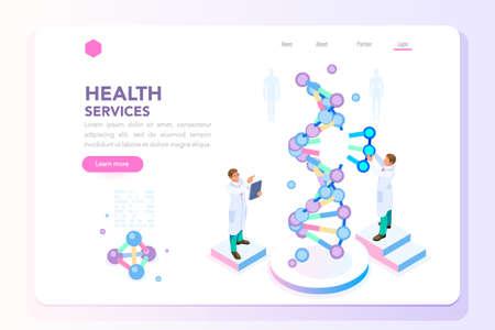 Laboratorium zdrowia i biochemii nanotechnologii. Helisa molekularna ewolucji DNA, genomu lub genów. Koncepcja sekwencji klonów genomu nauki urody wektor z postaciami. Płaskie izometryczne ilustracja. Ilustracje wektorowe