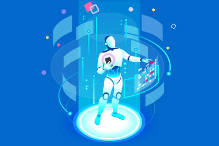 Flat isometric banner, ai of the future. Smartphone or geometric laptop mind, machine application with assistant connection. Pc for learning. Engineering technology, artificial intelligence concept. Ilustração