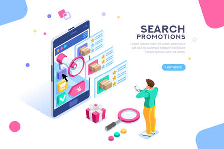 Social campaign for buying and rating. Product moving on website for search or promotion map. Seo video content for shopping like or star. Flat isometric characters. Concept for landing page for web.
