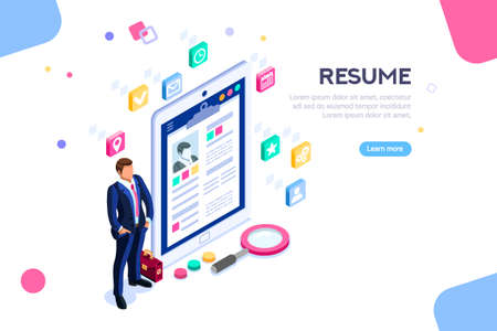 Web page, banner for resume resources. Employer, customer, boss recruit. Businessman isometric human resources, hr job presentation for occupation choose. Flat Isometric concept with characters.