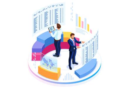 Concetto di amministrazione finanziaria. Consulenza per le prestazioni aziendali, concetto di analisi. Statistiche e dichiarazione aziendale. Infografica isometrica piatta per banner o immagini di eroi aziendali.