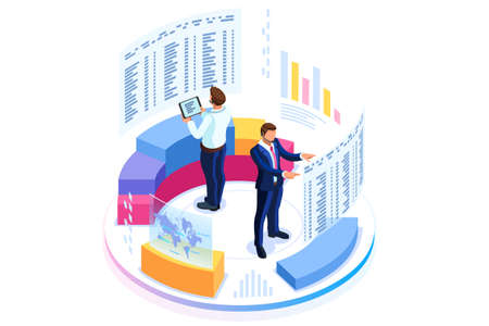 Financial administration concept. Consulting for company performance, analysis concept. Statistics and business statement. Flat isometric infographics for banner or business hero images. Foto de archivo - 105923605