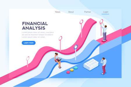 Database and big team on a room. Web infrastructure for cloud traffic, data base concept. Isometric report header. Finance visualization and analyzing on financial center. Flat vector illustration.