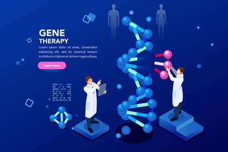 Laboratorio de salud y bioquímica de nanotecnología. Hélice de la molécula de adn, genoma o evolución genética. Concepto de secuencia de clon de genoma de ciencia azul de vector con personajes. Ilustración isométrica plana. Ilustración de vector