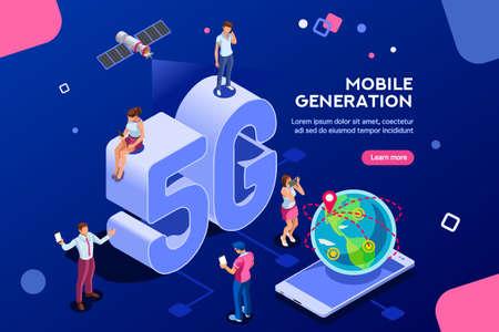 Servicio de telecomunicaciones de sistemas de Internet. Emisión Wifi y generación de datos. Señal de teléfono inteligente móvil 5G, tecnología de velocidad, transmisión global a la nube. Concepto isométrico con ilustración de personajes.