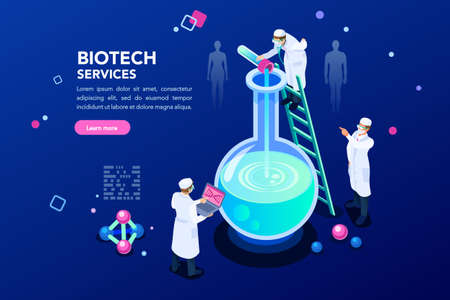 Health and biochemistry laboratory of nanotechnology. Molecule helix of dna, genome or gene evolution. Vector blue science genome clone sequence concept with characters. Flat isometric illustration. Ilustrace