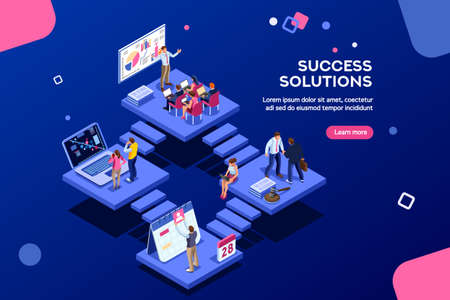 Isometric analysis, data investment for project. Solutions, visualization, analyzing of success. Business workplace, consulting app, career website, mobile website. Small office group modern homepage. Иллюстрация