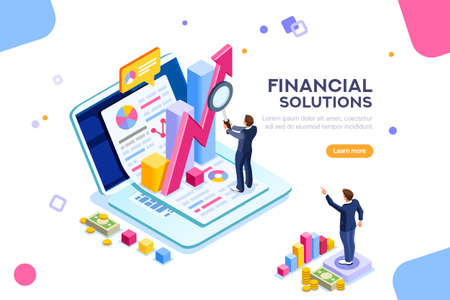 Finance and engineering graph of economics. Statistic and sales manager for financial management concept. Economic infographic banner. Flat isometric concept with characters vector illustration.  イラスト・ベクター素材
