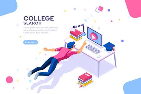 Tutorial Infografik, Abschluss, E-Learning-Forschung, Universitätsprüfung, Hochschulforschung, Online-Kurskonzept. Charakterlehrgang oder Seminar für Studenten in der Welt. Flacher isometrischer Vektor. Vektorgrafik
