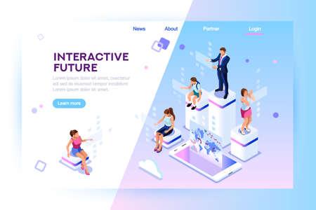 Handel detaliczny i styl życia w sklepie. Społeczne miasto przyszłości. Ekran, interaktywna innowacja telefonu przyszłości. Doświadczenie pracy, nauki lub rozrywki w rozszerzonej rzeczywistości. Płaska ilustracja izometryczna Ilustracje wektorowe