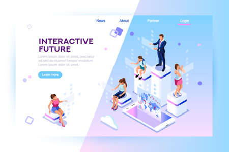 Retail and lifestyle at store. Social city of the future. Screen, interactive future phone innovation. Experience of work, learning or entertaining on augmented reality. Flat isometric illustration Stock Vector - 111995103