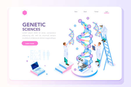 Health and biochemistry laboratory of nanotechnology. Molecule helix of dna, genome or gene evolution. Vector blue science genome clone sequence concept with characters. Flat isometric illustration. Vettoriali