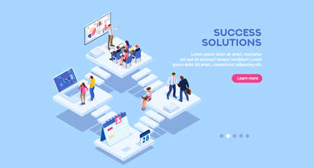 Isometric analysis, data investment for project. Solutions, visualization, analyzing of success. Business workplace, consulting app, career website, mobile website. Small office group modern homepage. Ilustrace