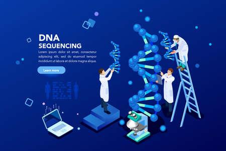 Gezondheids- en biochemisch laboratorium voor nanotechnologie. Molecuulhelix van dna, genoom of genevolutie. Vector blauw wetenschap genoom kloon volgorde concept met karakters. Platte isometrische illustratie. Vector Illustratie
