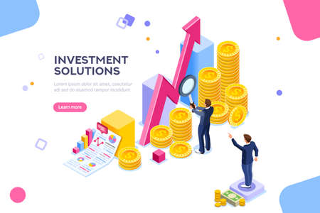 Bank development economics strategy. Commerce solutions for investments, analysis concept. Analysis of sales, statistic grow data, accounting infographic. Economic deposits flat isometric illustration Stock fotó - 111995107