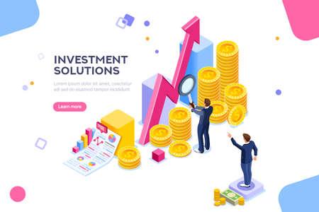 Strategia economica per lo sviluppo della banca. Soluzioni commerciali per investimenti, concetto di analisi. Analisi delle vendite, dati di crescita statistica, infografica contabile. Illustrazione isometrica piana di depositi economici