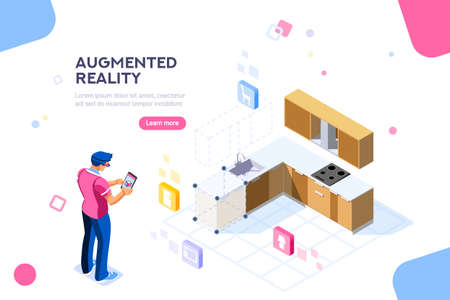 Augmented reality visualization on device. Character on a concept of furniture application to build interior catalog for shop. Futuristic app interaction. Vr concept or ar. Flat isometric illustration Illusztráció
