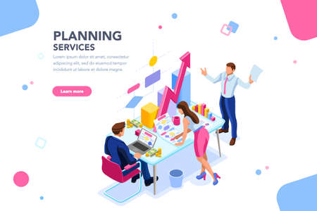 Analyst, financial banner. Planner, corporate earning calculate, data discussion. Consultant concept, characters, text on flat isometric emblem. Flowchart icons, infographic images vector illustration Reklamní fotografie - 106747455