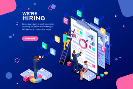 Job presentation fair banner page, choose career or interview a candidate. Job agency human resources creative find experience. Work concept with character and text. Flat isometric vector illustration Çizim