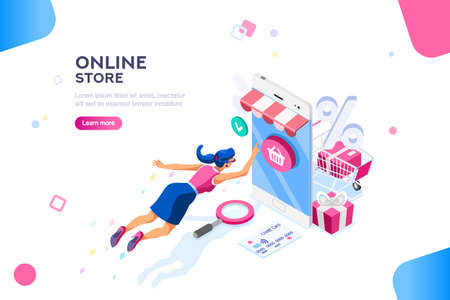 Concept of young buyer online using smartphone items. Consumer and fashion e-commerce, consumerism or sale concept. Characters, text for store. Flat isometric infographic images vector illustration Vettoriali