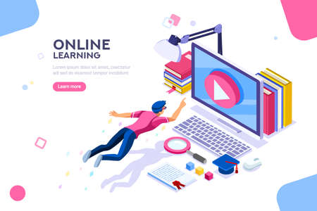 Desk of class seminar or courses. Online tutorial infographic for college research. Teaching cap on app for distance e-learning graduation. Concept with characters, flat isometric vector illustration. Vettoriali