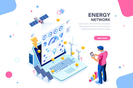 Augmented reality connection and accounting of energy station. Future, futuristic chart of energy visualization on application, email or infographics. Infrastructure of network. Flat isometric design.