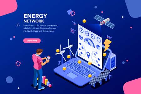 Conexión de realidad aumentada y contabilización de la central energética. Futuro, gráfico futurista de visualización de energía en la aplicación, el correo electrónico o la infografía. Infraestructura de red. Diseño isométrico plano. Ilustración de vector