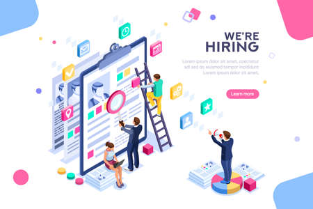 Job presentation fair banner page, choose career or interview a candidate. Job agency human resources creative find experience. Work concept with character and text. Flat isometric vector illustration Vettoriali