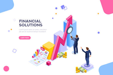Financial research concept. Audit management of economic strategy. Currency development, economics corporate plan for sales. Statistic for organization or investment. Flat isometric characters concept Ilustracja