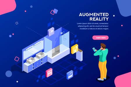 Augmented Reality Visualisierung auf dem Gerät. Charakter auf einem Konzept der Möbelanwendung, um Innenkatalog für Geschäft zu bauen. Futuristische App-Interaktion. Vr Konzept oder ar. Flache isometrische Darstellung