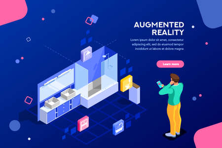 Augmented reality visualization on device. Character on a concept of furniture application to build interior catalog for shop. Futuristic app interaction. Vr concept or ar. Flat isometric illustration Vettoriali