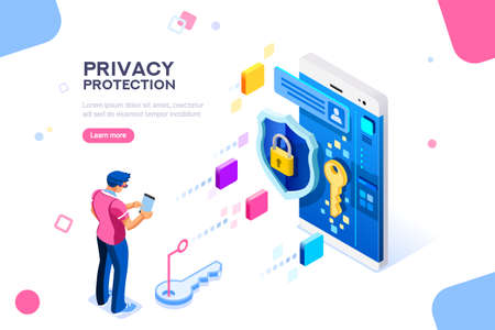 Infographic, banner with hero protect data and confidentiality. Safety and confidential data protection, concept with character saving code and check access. Flat isometric vector illustration. Data protection concept. Credit card check and software access data as confidential. Can use for web banner, infographics, hero images. Flat isometric illustration isolated on white background. Vettoriali